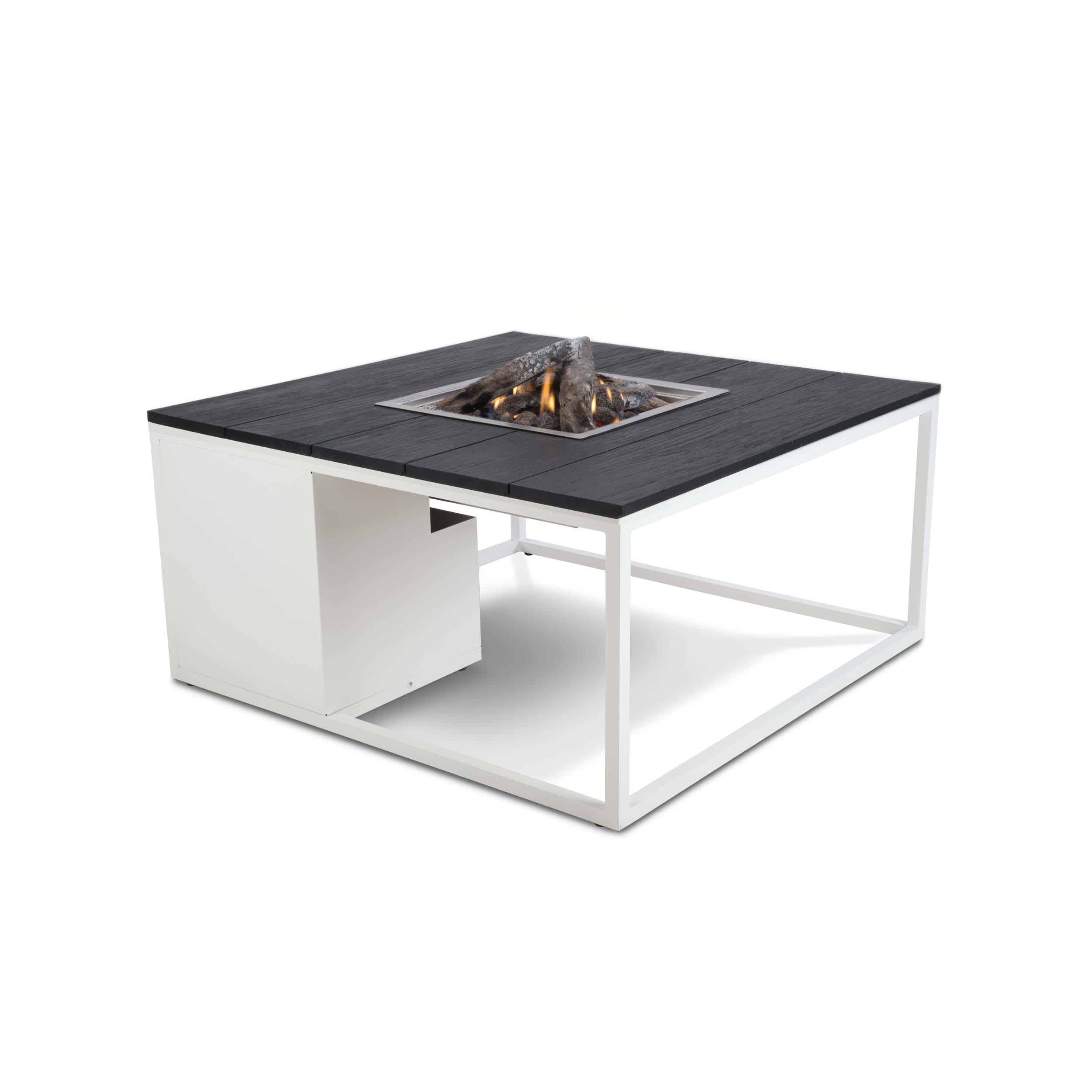 Cosiloft loungebord med gasbrænder – 100x100x47 – hvid/sort
