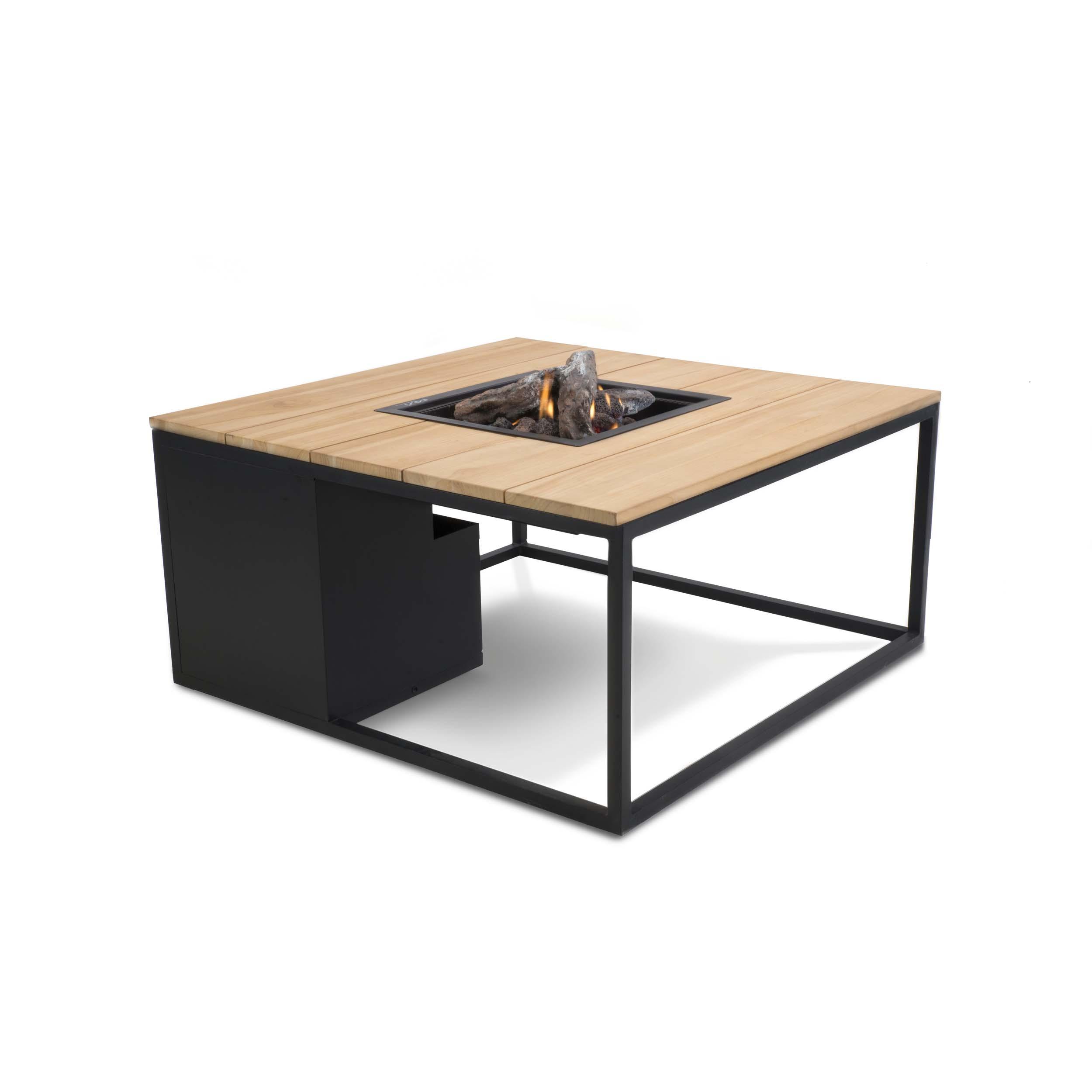 Cosiloft loungebord med gasbrænder – 100x100x47 – sort/teak