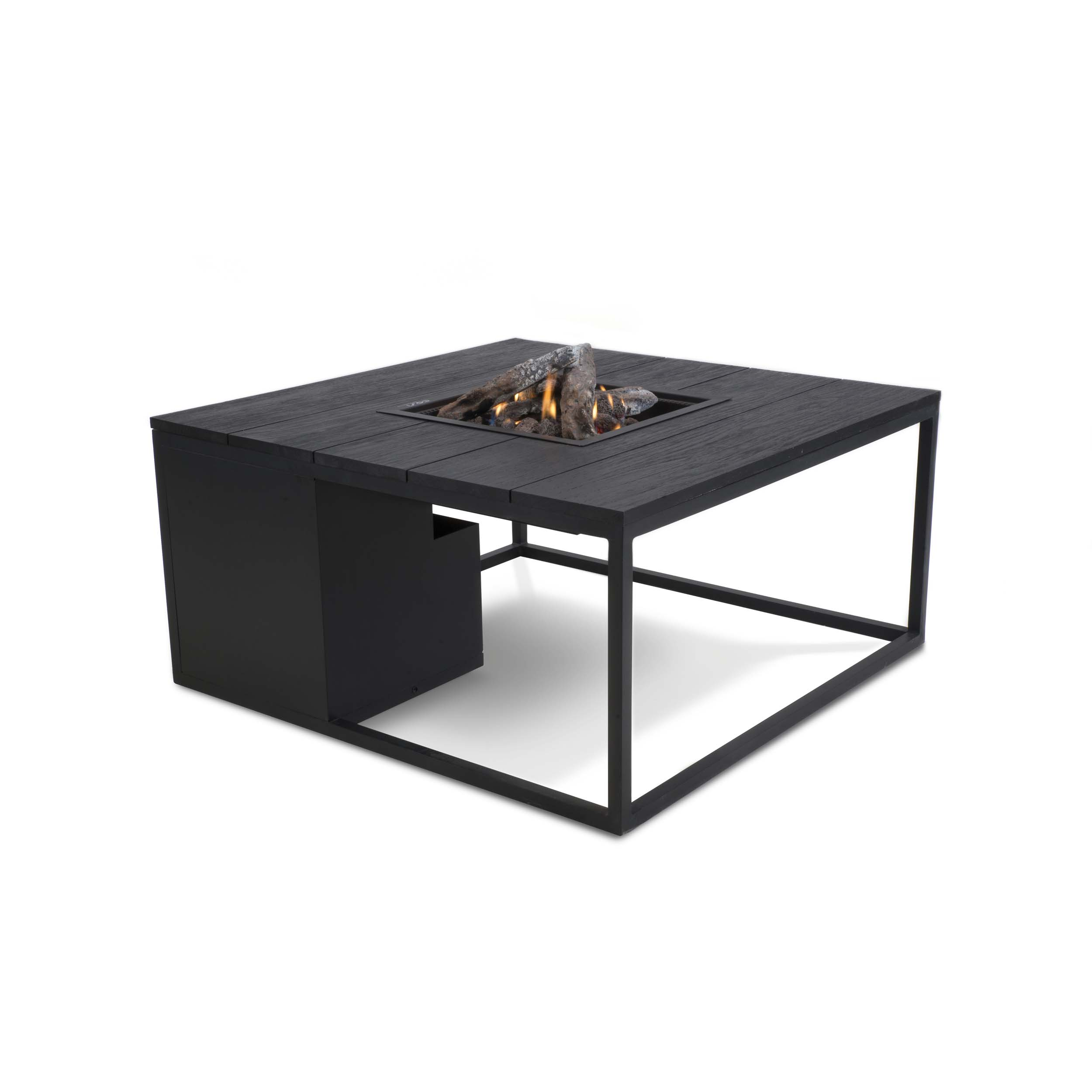 Cosiloft loungebord med gasbrænder – 100x100x47 – sort/sort