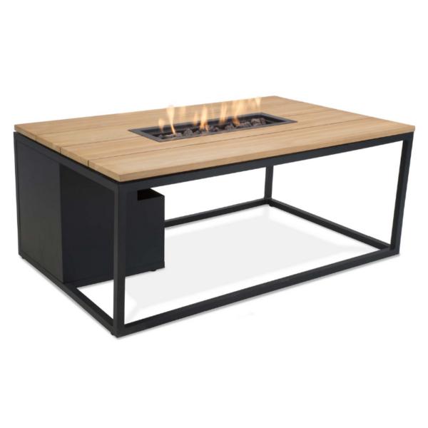 Cosiloft Loungebord med gasbrænder 120x80x47 – sort/teak