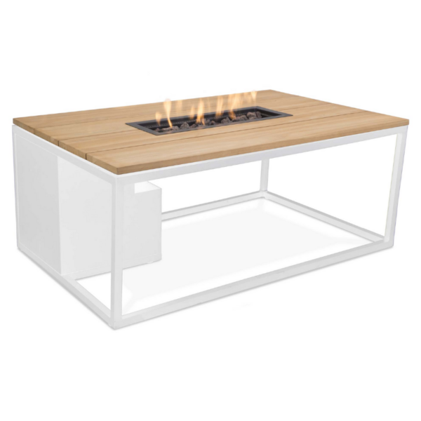 Cosiloft Loungebord med gasbrænder 120x80x47 – hvid/teak