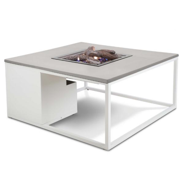 Cosiloft loungebord med gasbrænder – 100x100x47 – hvid/grå